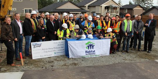 Habitat for Humanity Breaking Ground Ceremony at Meadow Hill Development in Extension, BC with Milner Group